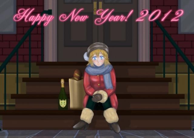 Happy New Year! 2012(原画/olegon 作画/ま~くん)※画像クリックで大きな画像が見れます。
