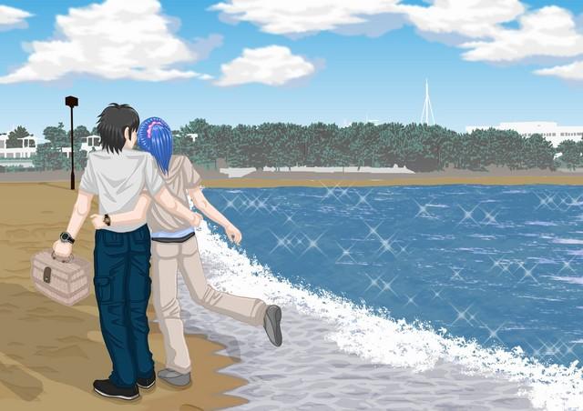 リュウとヨシ子 海の公園にて。